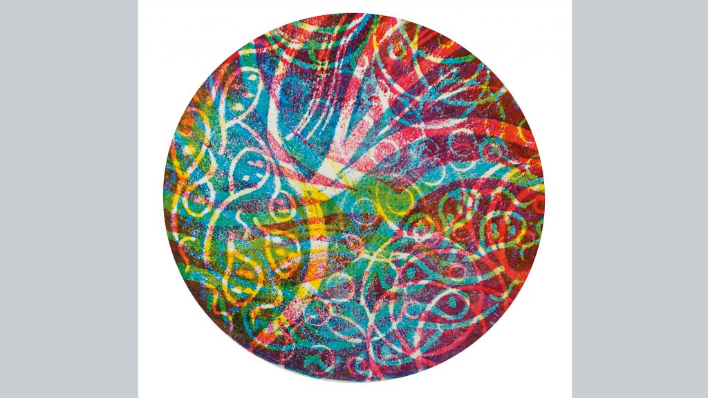 3原色で多色版画を刷ってみよう『回転はんが』説明画像