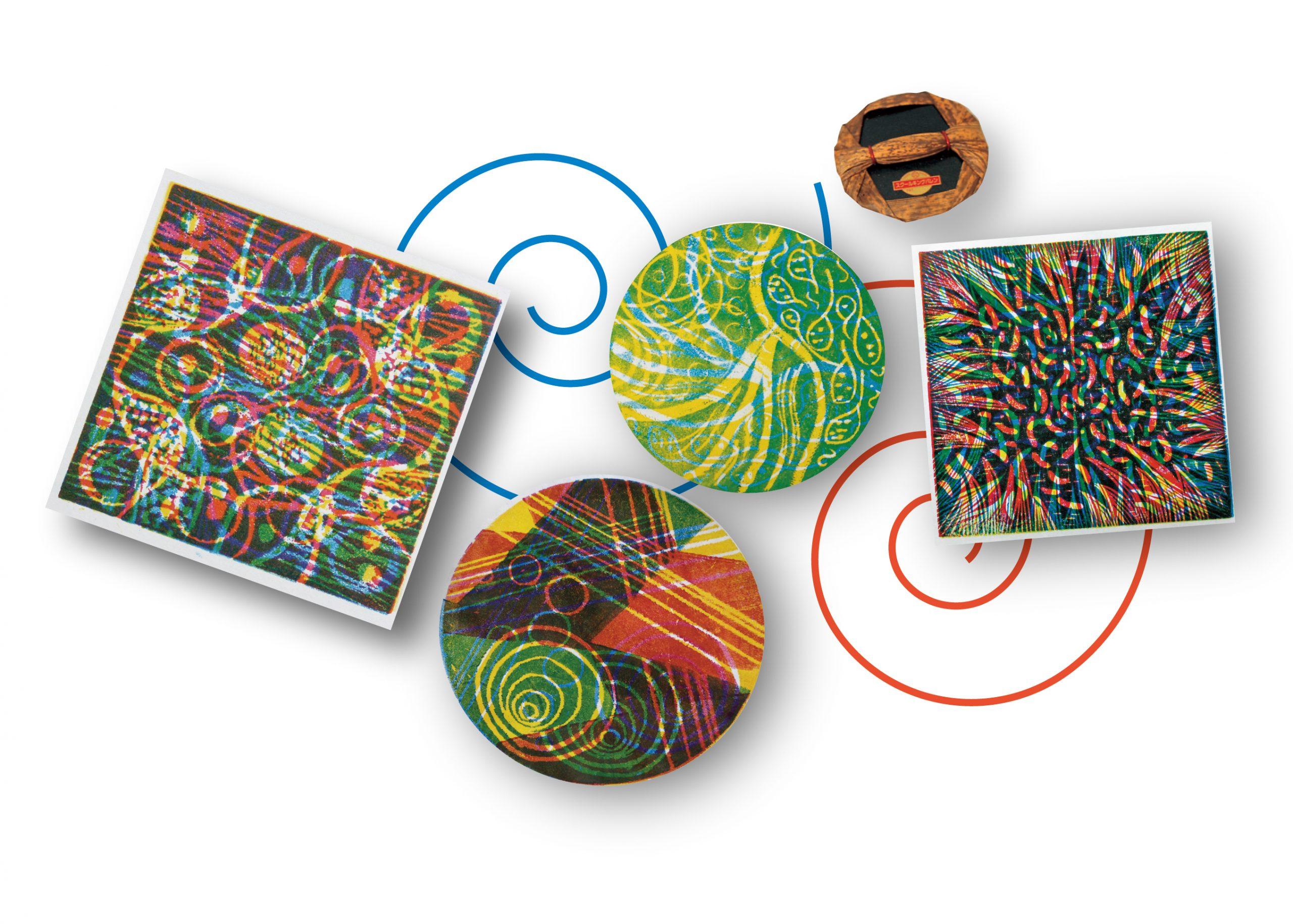 3原色で多色版画を刷ってみよう『回転はんが』のメイン画像