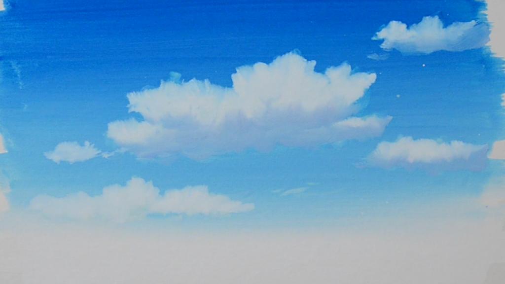 ポスターカラーでアニメ背景画に挑戦!説明画像