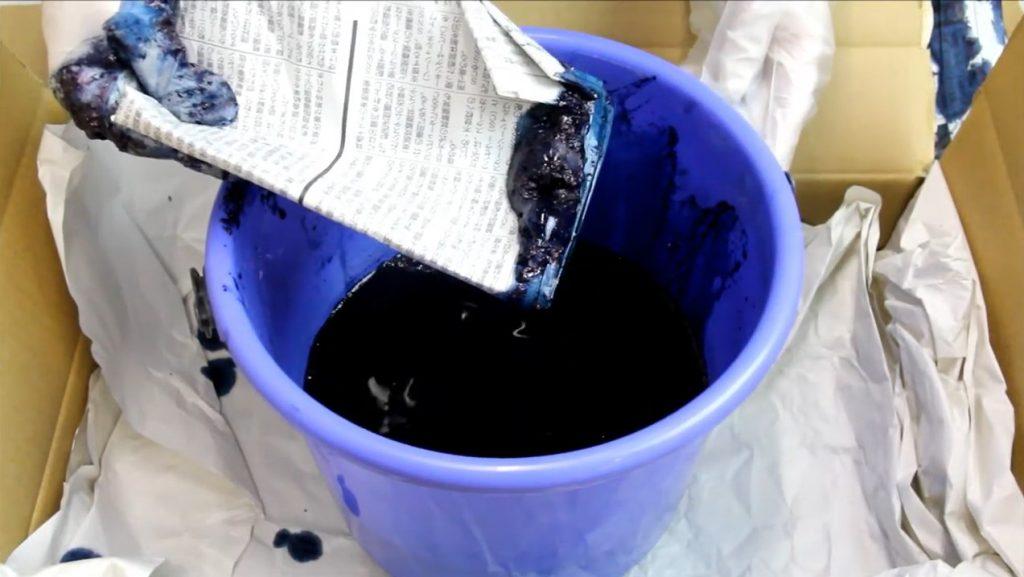 """水染めできる藍染め染料 """"大和藍"""" で絞り染め説明画像"""